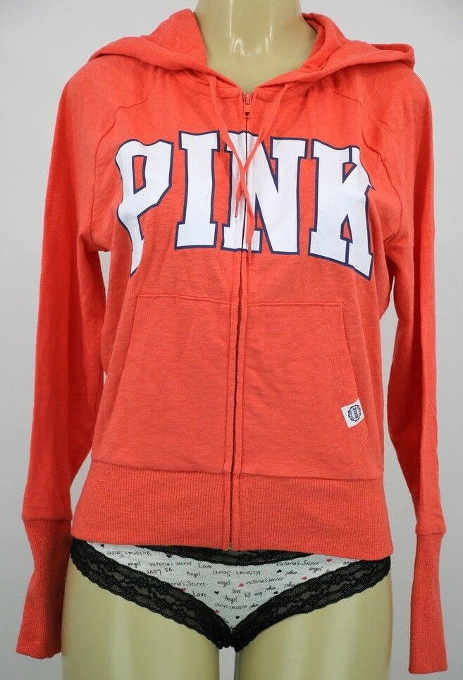 NWT VICTORIA'S SECRET PINK  orange ZIP UP HOODIE MEDIUM EE392