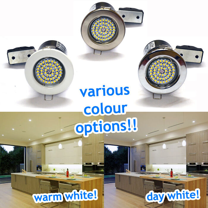 10 x Fire Rated Fixed Tilt LED GU10 Recessed Ceiling Spotlights Downlights 4W UK