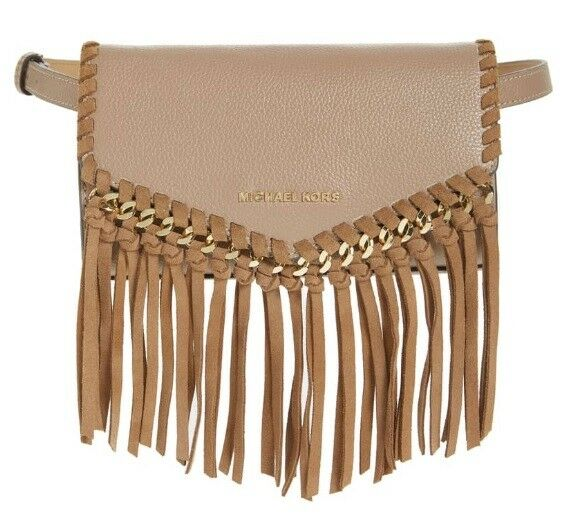 b8d4129c3141 Michael Kors Fanny Pack Belt Bag Brown Pebbled Leather With Suede Fringe  for sale online | eBay