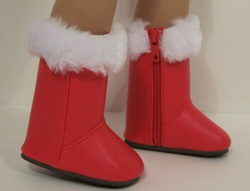 """RED Faux Fur Snow Boots Doll Shoes For Linda Rick 18/"""" Vinyl Dolls Debs"""