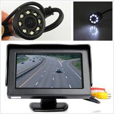 Car Rearview Backup Dispaly Monitor+8LED Night Vision 18.5mm HD Camera+Drill Kit