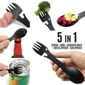 Spoon Multi-function Stainless Steel Cutlery 2 in 1 Spoon Fork Camping Cookirs