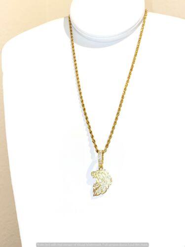 Herren Damen Löwenkopf 14K Gold Finish Anhänger Seilkette Italien Halskette