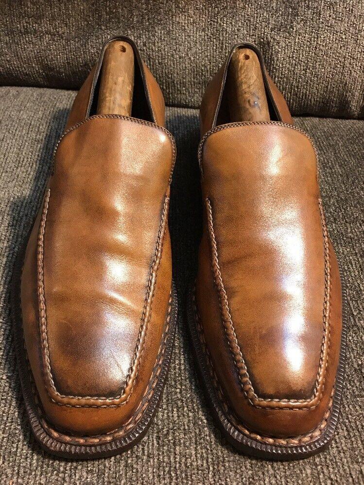 SUTOR MANTELLASSI Loafers Pelle Scarpe Hand Made In Italy Taglia Us 9.5 Eu 42.5