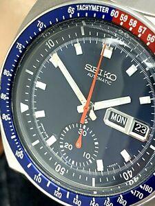 Seiko-Men-039-s-Watch-Pepsi-Bezel-6139-6005-Automatic-Vintage-Chronograph-Blue-Dial