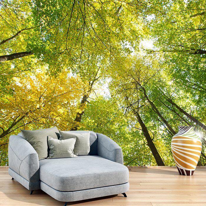 Grüne Bäume Fototapete Sonnenlicht Wald Tapete Wohnzimmer Haus Dekor