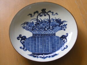 Antique-Signed-Chinese-Japanese-Blue-White-Bowl-Deep-Plate-Basket-Flowers-8-3-4-034