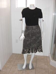 Kial-Black-amp-White-Zebra-Medallion-Skirt-Size-10