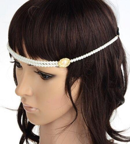 bandeau perle Mode serre tête Bijou cheveux blanc bijoux fantaisie Headband