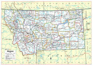 Details about Cool Owl Maps Montana State Wall Map Poster - Rolled  Laminated 34\