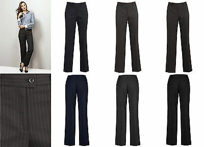 Biz Corporate Ladies Relaxed Fit Pant 10211   Cool Stretch Pinstripe, Office