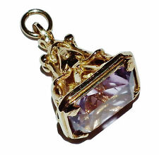 Vintage Fully Hallmarked 9ct Yellow Gold & Amethyst Fob Pendant/Charm