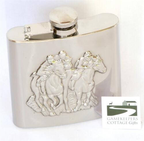 Horse Racing Theme Hip Flask Stainless Steel Gift Boxed FREE ENGRAVING