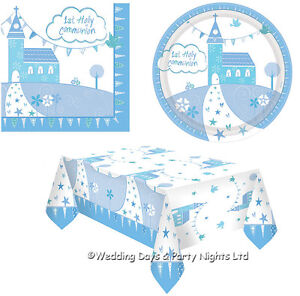 Image is loading Boys-Blue-1st-First-Holy-Communion-Party-Napkins-  sc 1 st  eBay & Boys Blue 1st First Holy Communion Party Napkins Paper Plates ...