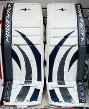 "New Powertek Barikad Jr goalie leg pads blue/silver 28"" junior ice hockey goal"