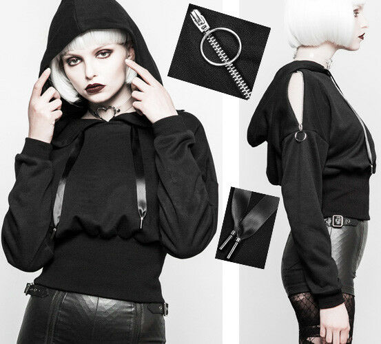 Sweat haut bouffant gothique punk fashion capuche ruban satin zippé PunkRave