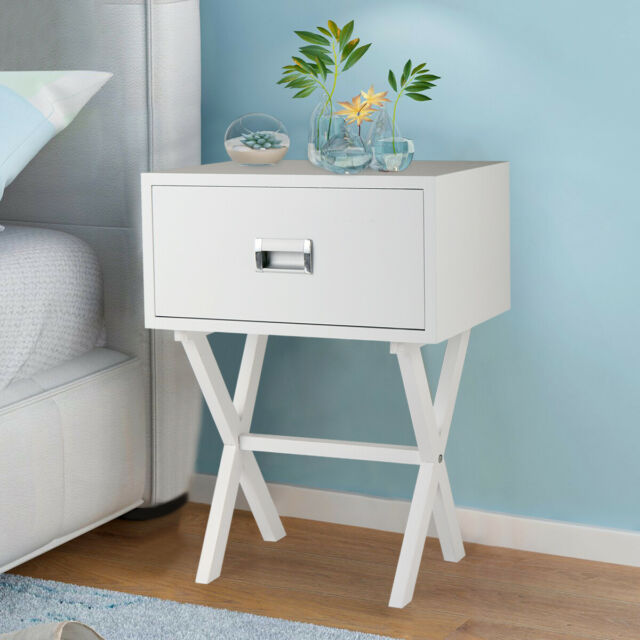low priced e4bb2 c2eb4 End Side Table Nightstand Storage w/ Drawer and Beam Home Decor Bedside  White