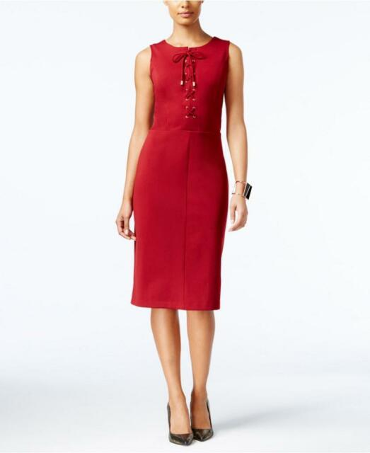 3e52fcd56b ECI Lace-up Sheath Dress Scarlet Red Size Large for sale online
