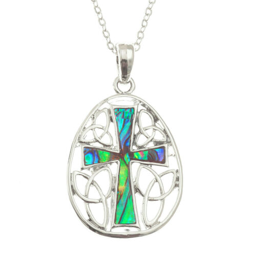 "Celtic Cross Necklace Paua Abalone Shell Pendant Silver Fashion Jewellery 18/"""
