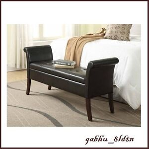 Details about Leather Tufted Storage Bed Bench Scrolled Arms Settee  Loveseat Entryway Bedroom