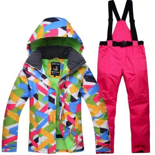 Women Girl Ski Snow Snowboard Waterproof Jacket Bib Pants Winter Warm Snow Coats