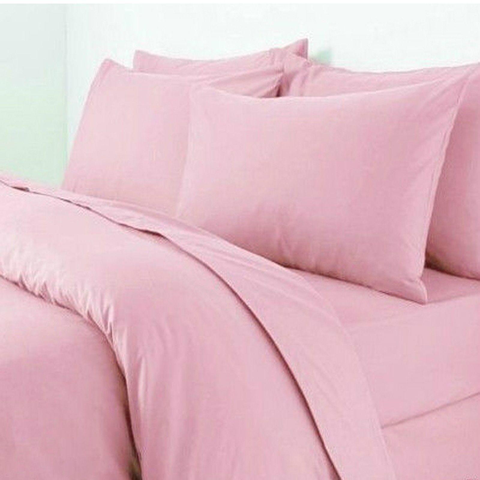 rosa Set t200 100% cotone egiziano Set rosa Piumone Lenzuolo Federe per Cuscini Biancheria Da Letto 276529