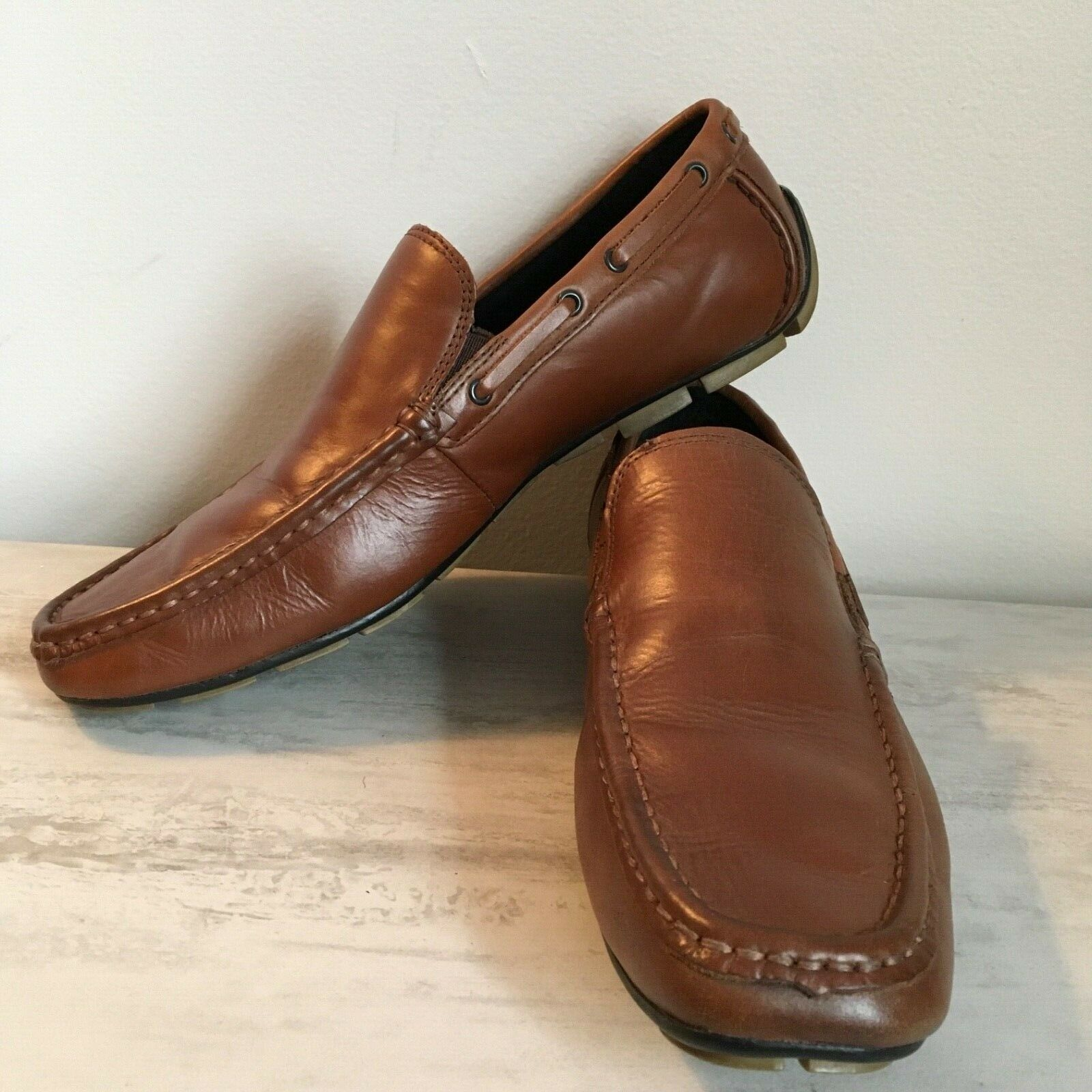 Kenneth Cole Reaction Traffic Light Brown Men Driving Shoes Loafers Leather 9M