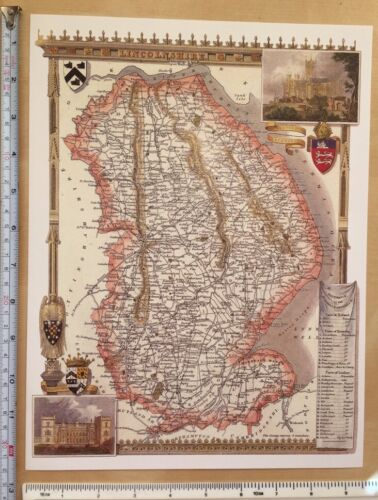 """Moule Old Antique colour map Lincolnshire England c1830/'s 9.5/"""" x 12/"""" Reprint"""