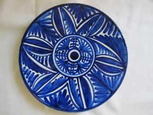 Pintado A Mano Spain Blue White Pottery Decorative Wall Hanging Plate Floral Ebay