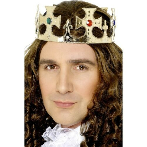 Men/'s Gold Jewelled King/'s Crown Henry The VIII Fancy Dress Stag Theme Fun Do