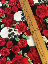 Tesoro Atemporal Calaveras y Rosas Halloween De Tela De Algodón FQ Goth