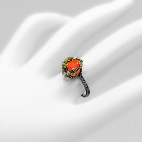 RVS261 Fine Art Jewellery Natural Gemstone Carnelian .925 Sterling Silver Ring