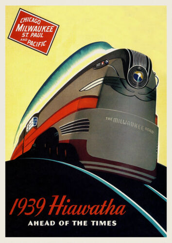 Vintage Art Deco Travel Poster 30s Streamline Hiawatha Locomotive Dieselpunk