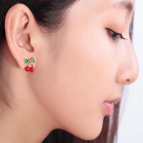Mignon Femmes Rouge Cerise Clous d/'oreilles vert nœud cerise Boucles d/'oreilles Fruits Bijoux Hot