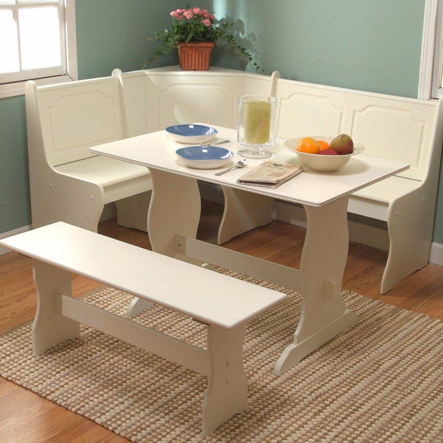 White Dining Breakfast Nook Set Corner Booth Bench Table Seat Kitchen  Furniture