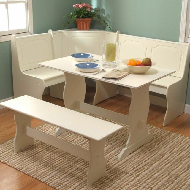 White Kitchen Table With Bench: White Dining Breakfast Nook Set Corner Booth Bench Table