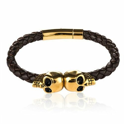 Skull Bracelet Men/'s Genuine Leather Skull Bracelet