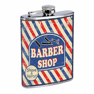 Poster d186 flask 8oz stainless steel barber shop shave amp haircut