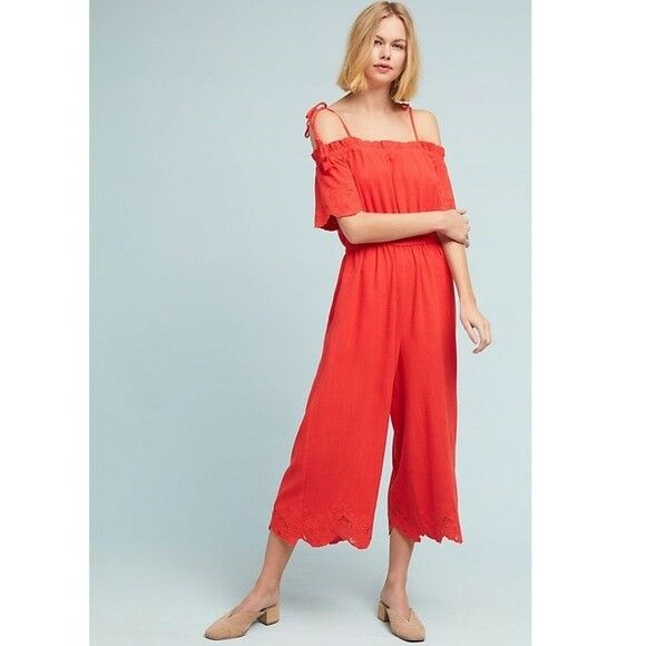 148 Anthropologie Lela Wide-Leg Jumpsuit    size S new new