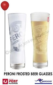 Peroni Beer Nastro Azzuro Frosted Etched Beer Glasses 2 pack 350m Italian Birra