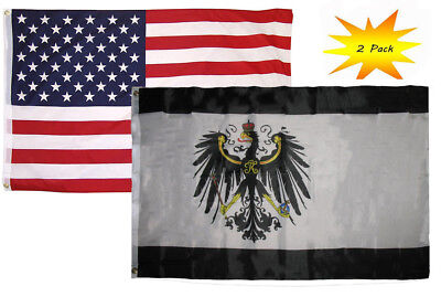 3x5 3/'x5/' Wholesale Combo USA American /& Germany German Eagle 2 Flags Grommets