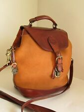 Vtg TIMBERLAND Men's Tan Leather Nubuck Rugged Convertible Sling Bag Backpack
