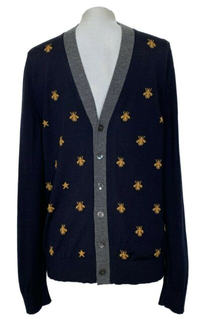 GUCCI NAVY FINE WOOL 'BEE' CARDIGAN SWEATER, L, $1450