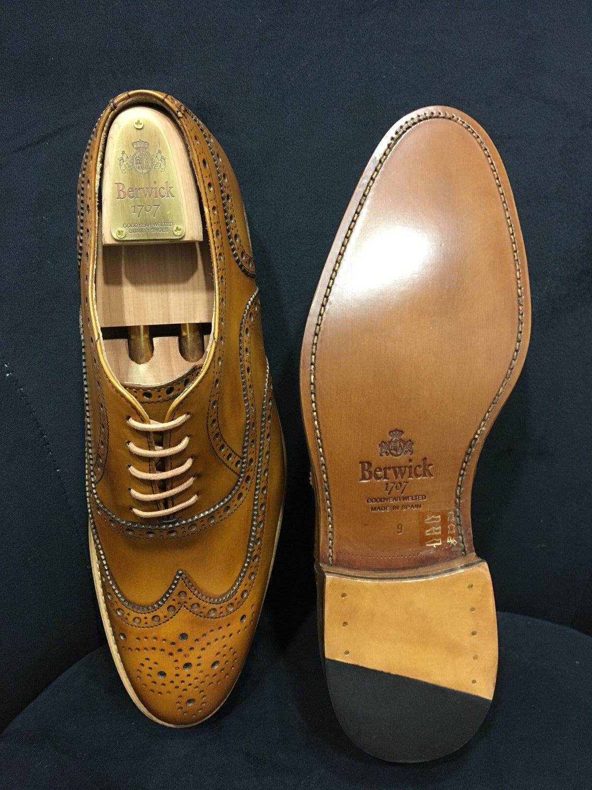 Berwick 1707 Scarpa Scarpa Scarpa in pelle Oxford COGNAC Goodyear Welted Bordi cuciti GR: 39 - 46 604a8d
