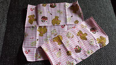 2 Stück Taschentücher 26 X 26cm Kinder Mädchen Baumwolle Rosa-weiß Teddy Korb