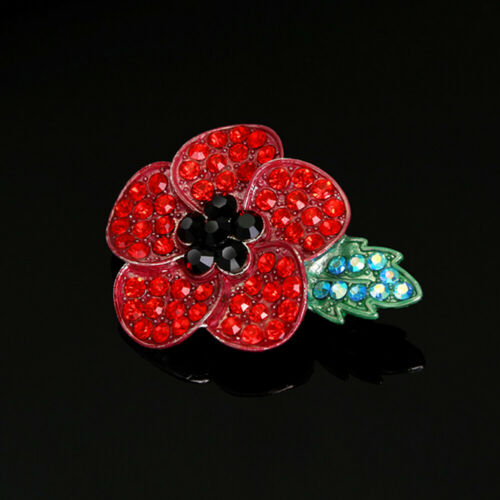 2019 NEW Crystal Poppy Pin Badges Enamel Red Brooch Flower Collection Day