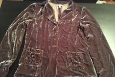 J Jill Crushed Velvet Jacket Sz XS Silk Blend Dark Gray Long Sleeve