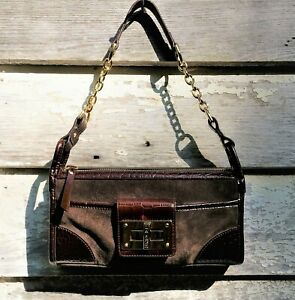 ae0a95f8bb37 LRL RALPH LAUREN 2-Tone Brown CROC Embossed LEATHER   Suede Shoulder ...