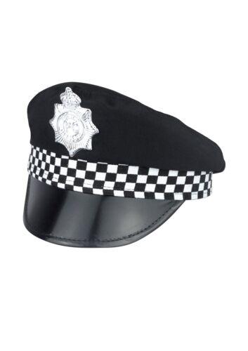 Adulti Nero Panda Polizia Poliziotto Cappello Fascia a Scacchi /& Badge Costume