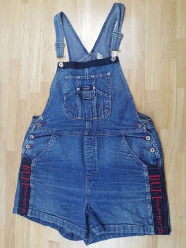 Bum Equipment Women/'s XL Denim Overalls Short Bibs 90s Vintage Spellout